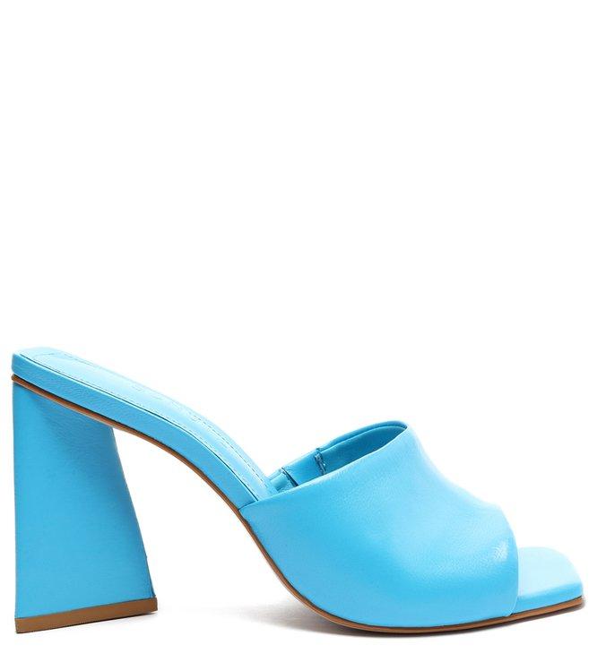 Sandália Mule Salto Triangle Lizah Couro Azul