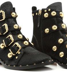 Combat Boot Flat Studs Soft Black