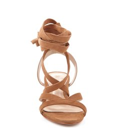 Sandália Salto Bloco Lace Up Bamboo