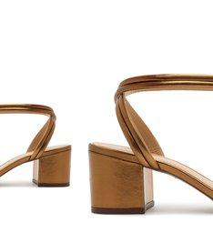 Sandália Block Heel Strings Bronze