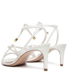 Sandália Salto Médio Tiras Branca