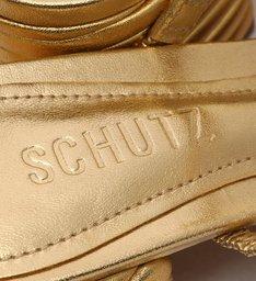 Mule Block Heel Texture Gold