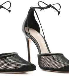 Scarpin Lace-Up Tela Black