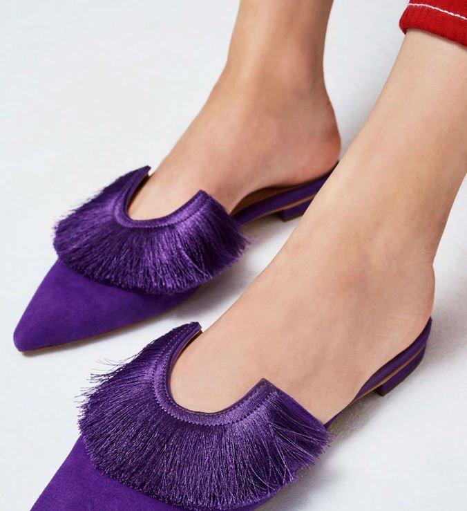 Flat Mule Fringes Purple