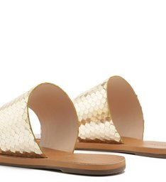 SLIDE DOUBLE STRAP METALLIC SNAKE PLATINA