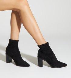 Sock Boot Block Heel Stretch Black