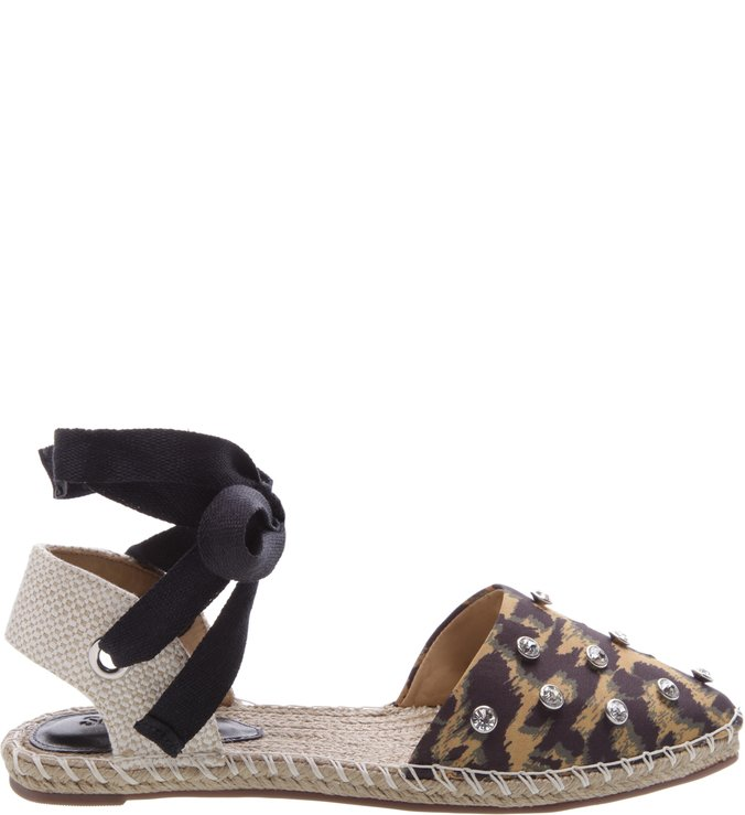 Flat Espadrille Pearls Animal Print