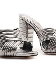 Sandália Mule Textures Metallic Prata