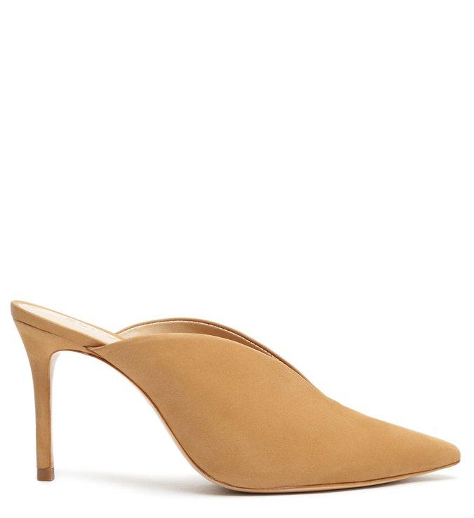 Sapato Mule Salto Camurça Marrom
