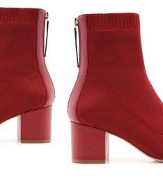 Sock Boot Block Heel Red