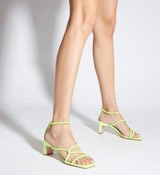 Sandália Salto Baixo Entrelaçada Verde Neon
