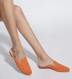 FLAT MULE COMFY SUEDE ORANGE