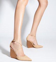 Sapato Scarpin Anabela Espelho Bege