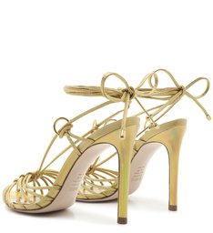Sandália High Lace-Up Holo Gold