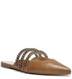 Sapato Mule Rasteira Couro Cristais Caramelo