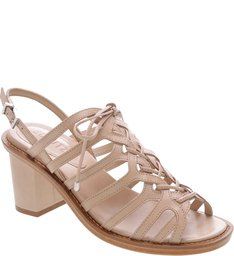 Sandália Block Heel Lace-Up Blush
