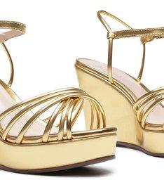 Sandália Anabela Metallic Gold