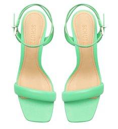 Sandália Salto Bico Quadrado Couro Verde