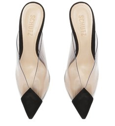 Sapato Mule com Salto Transparente Preto