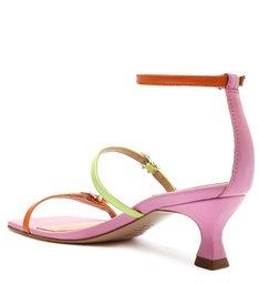 Sandália Salto Baixo Couro Colorida Neon e Pink