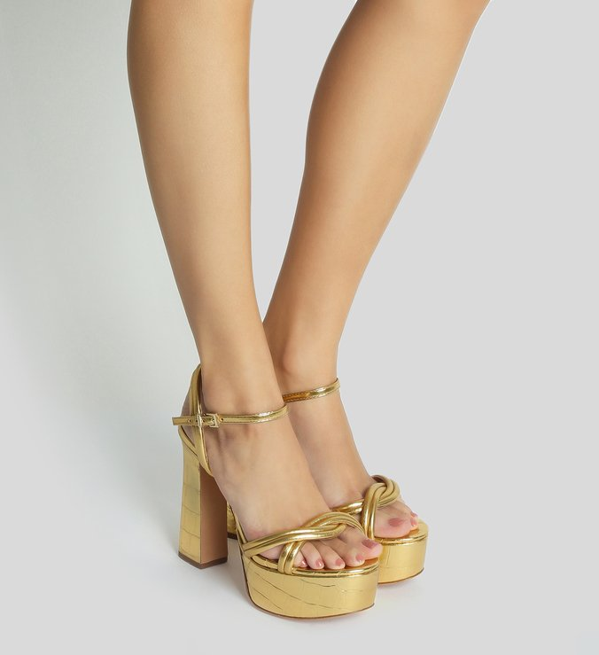 Sandália Meia Pata Golden Croco