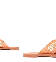 Sandália Rasteira de X Schutz Logo Bege