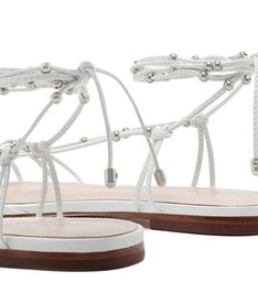 Flat Strings Lace-Up Studs White