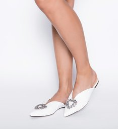 Flat Mule Glam White