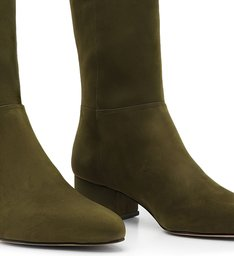Bota Over The Knee Suede Verde-Militar