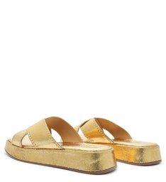 Chinelo Flatform Tiras Dourado