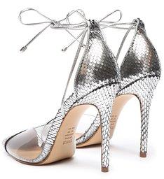 Sapato Scarpin Vinil Metalizado Prata Snake