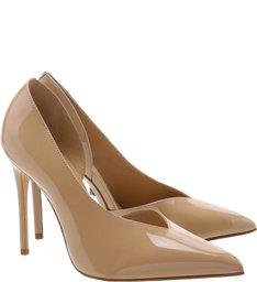 Sapato Scarpin Cut Out Verniz Bege
