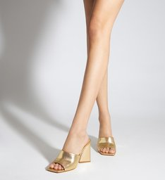 Sandália Mule Salto Triangle Lizah Couro Dourada