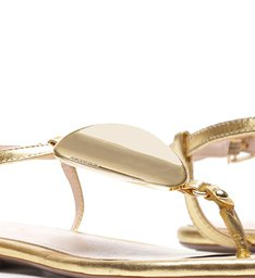 Sandália Rasteira Metalizada Dourada