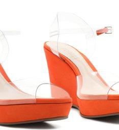 Sandália Anabela Vinil Clear Orange