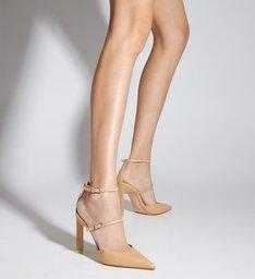 Sapato Scarpin Salto Alto Daniela Couro Bege