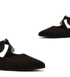 Sapato Mule Rasteira Nobuck Laço Preto