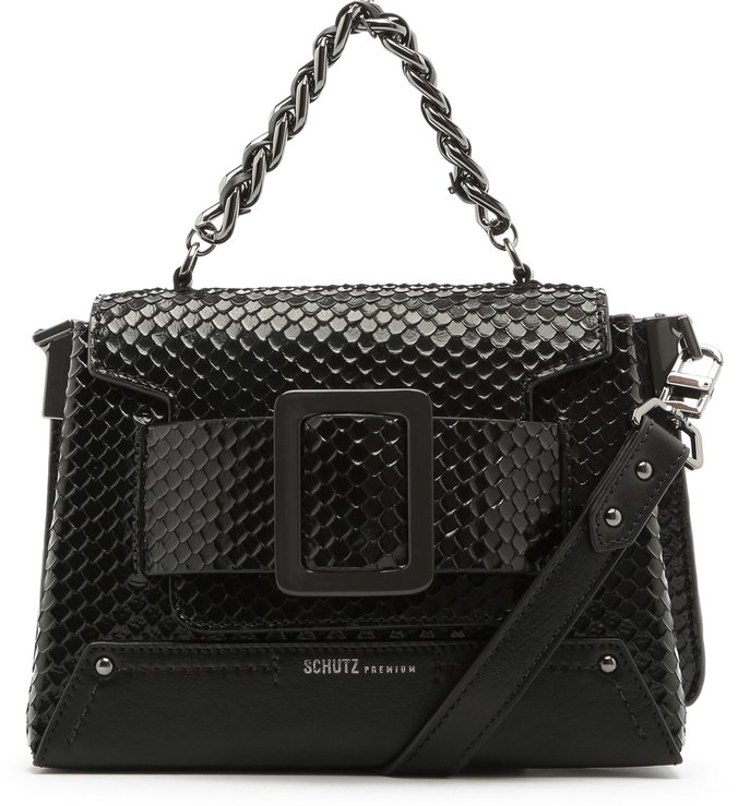 Satchel Buckle Bag Bright Snake Black
