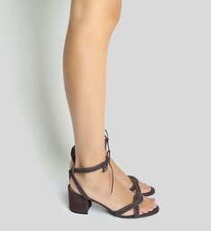 Sandália Block Heel Lace-up Grey