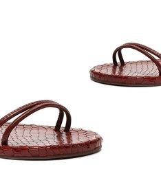 Sandália Rasteira Couro Amarração Vermelha
