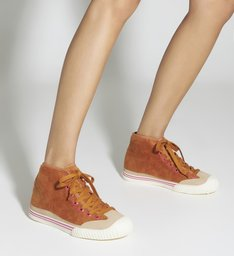 Sneaker High Top Veludo Ocre