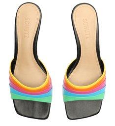 Sandália Mule Salto Baixo Quadrada Couro Rainbow Preta