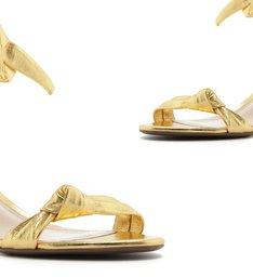 Sandália Block Heel Knot Metallic Gold