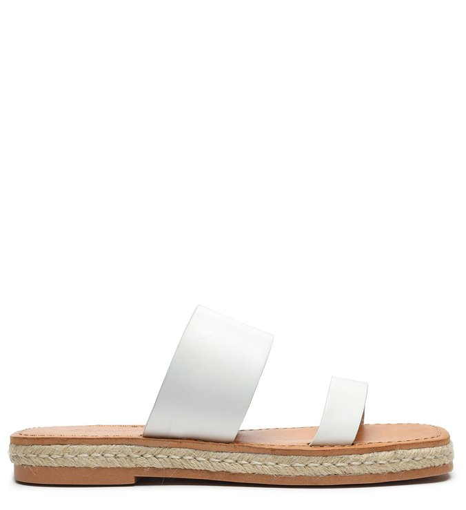 Flat Slide Double Strap White