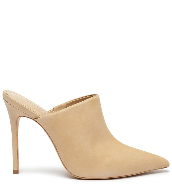 Sapato Mule Salto Nobuck Bege