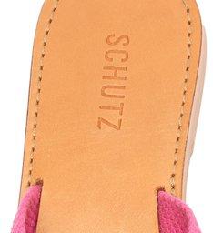Sandália Rasteira de X Tecido Logo Schutz Rosa