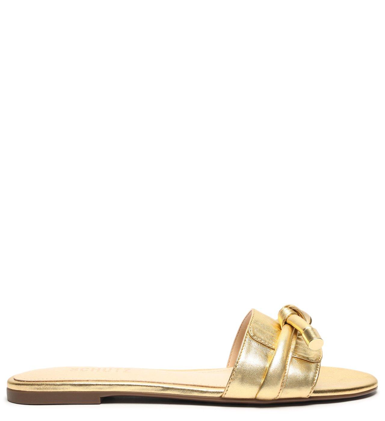 Flat Slide Knot Verniz Gold | Schutz