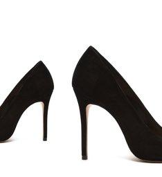 [Pre-Order] Sapato Scarpin Salto Nobuck Metalizado Preto