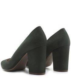 Scarpin Block Heel Nobuck Green