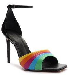 Sandália Salto Couro Rainbow Preta